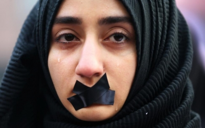 A Turkish student cries during a protest to show solidarity with trapped citizens of Aleppo, Syria, in Sarajevo, Bosnia and Herzegovina