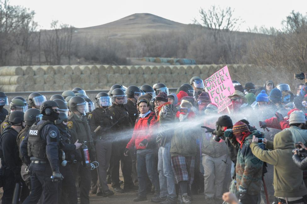 Police Mace Protesters During A Demonstration Against The Dakota Access Pipeline Near The Standing Rock Indian Reservation In Mandan, North Dakota, U.s.